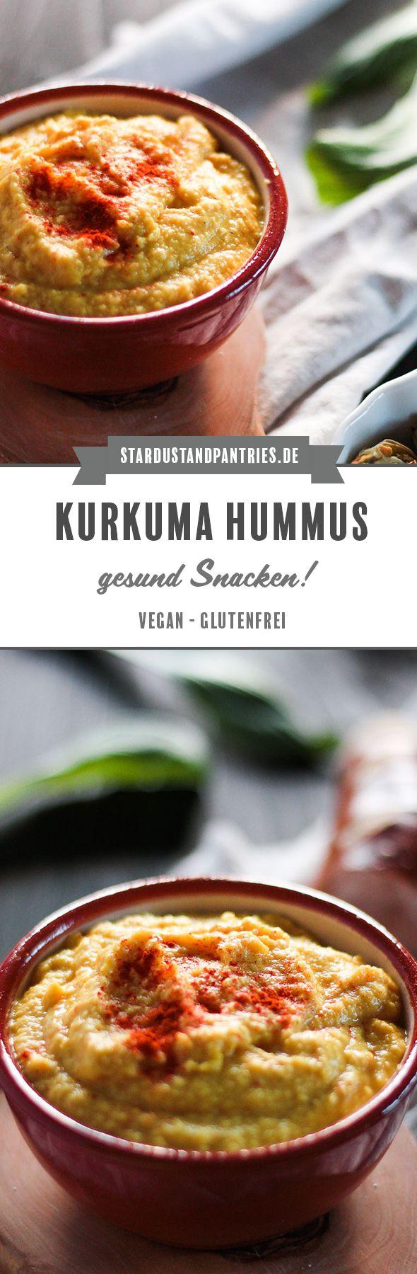 Schnelles Kurkuma Hummus als Dip zu Gemüse und als Brotaufstrich. Kurkuma Hummus ist von Natur aus glutenfrei und vegan. Ein gesunder Snack für den Hunger Zwischendurch oder für's Büro! #Snack #Hummus #Kurkuma #Gesund