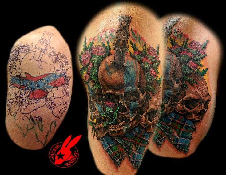 scottish skull cover up tattoo by jackie rabbit by on deviantart. Black Bedroom Furniture Sets. Home Design Ideas