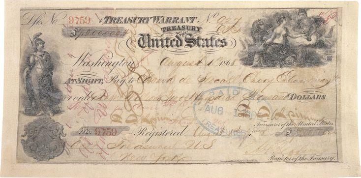 Verkauft:  Der Scheck, den die amerikanische Regierung am 1. August 1868 an...