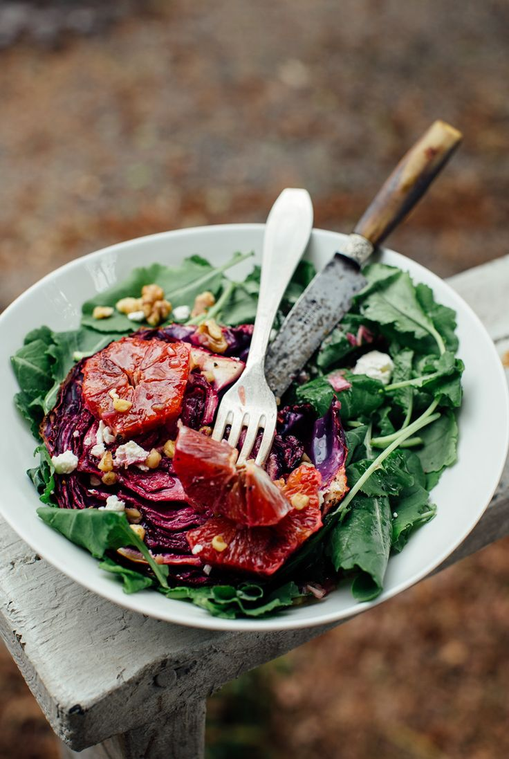 Roasted Red Cabbage with Sweet and Spicy Blood Orange + a Walnut Oil Vinaigrette