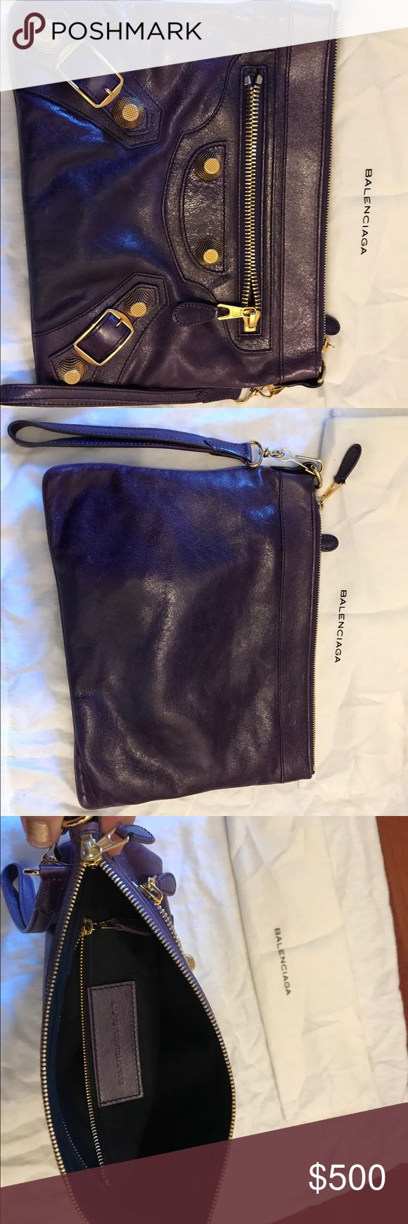 Balenciaga Clutch Authentic Balenciaga clutch in great condition.  Purple leather with gold tone hardware. Balenciaga Bags Clutches & Wristlets