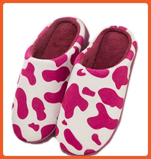 Cartoon Milch Cow Household Indoor Cotton Slippers Anti-slip (EU 35-37, Purple) - Slippers for women (*Amazon Partner-Link)