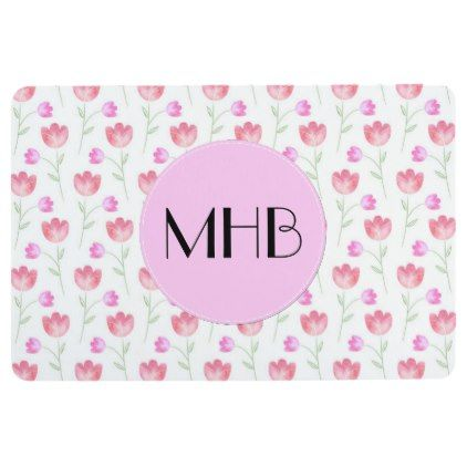 Monogram - Flowers Leaves Plant Stems - Pink Floor Mat - floral style flower flowers stylish diy personalize