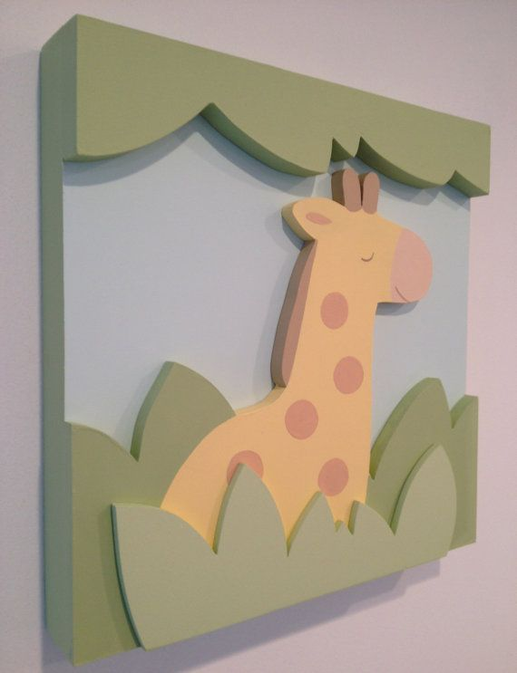 Giraffe Nursery Wall Decor and 3D Jungle Safari by EleosStudio