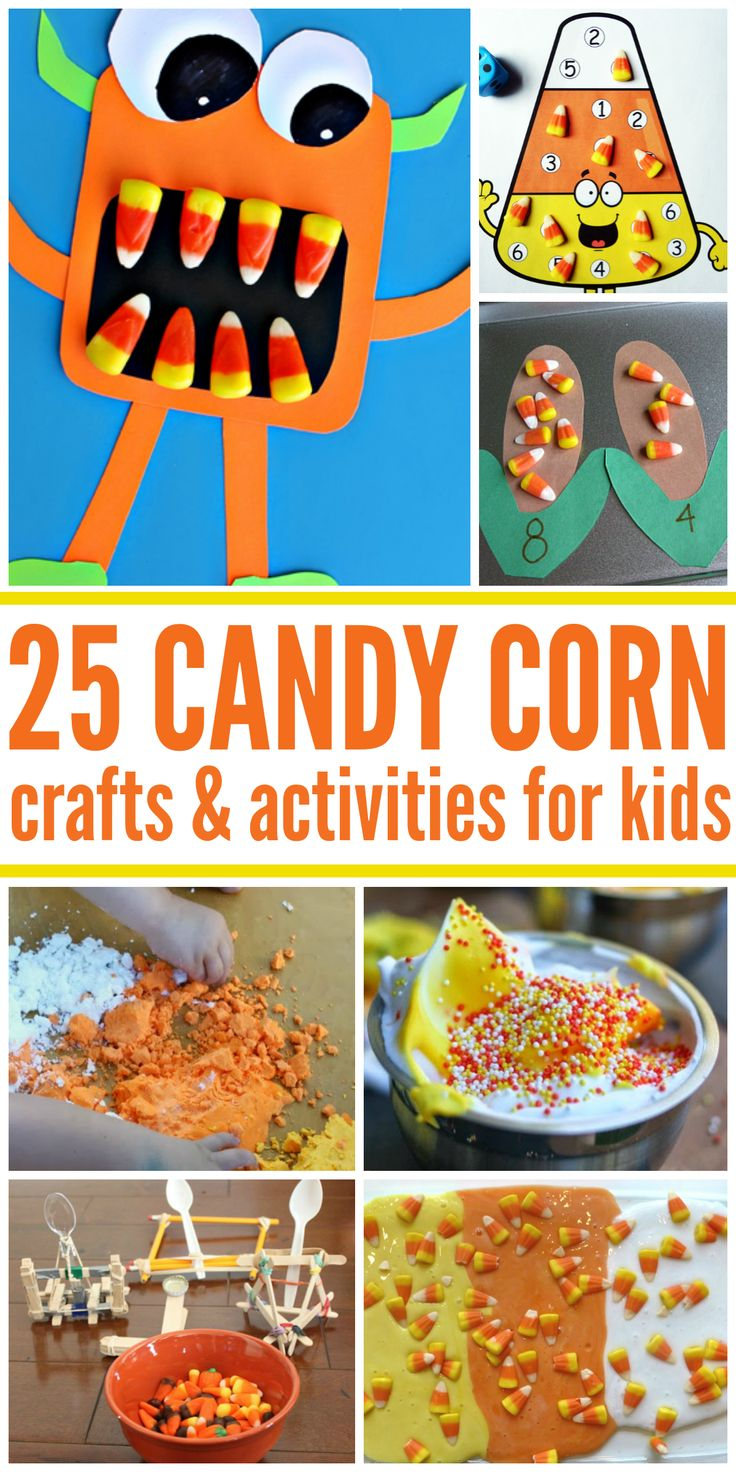 25 Exciting Candy Corn Crafts and Activities for Kids. Don't throw that candy corn in the trash. Make some Halloween fun out of them!