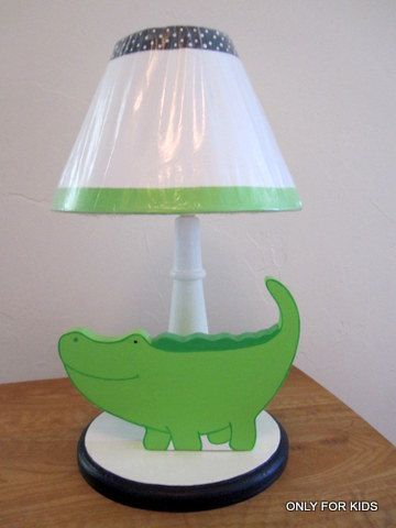 Alligator Table Lamp Baby Wooden Lamp  Kids Childrens Room Bananafish Nantucket  Bedding Set