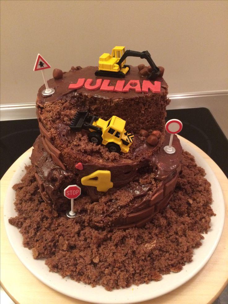 Baustellentorte die Zweite! EG: Schokoladenkuchen mit Kirschen OG: Schokolandenkuchen mit Haselnüssen Fahrzeuge von Siku. Idee gefunden bei: Kuchenfee Lisa