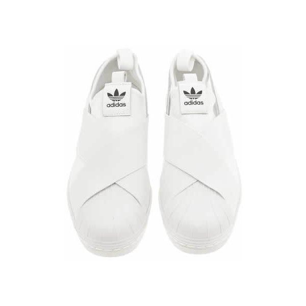 Womens White Adidas Superstar Slip On Trainers | schuh ($94) ❤ liked on Polyvore featuring shoes, sneakers, flats, white shoes, adidas, white trainers, adidas shoes and adidas flats
