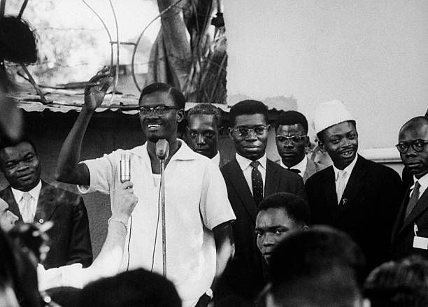 Patrice Lumumba speaking at political rally at time of Independence.