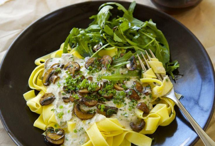 Mushroom and Herb Pasta with Cashew Cream Sauce - Nadia Lim