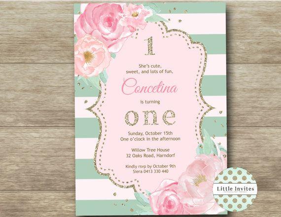 Invitación del primer cumpleaños de las niñas / por LittleInvites
