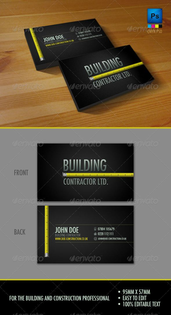 Professional Construction Workers Business Card #GraphicRiver This Business card is perfect for anyone in the constructions and building trade. Dimensions: 95×57 (mm) CMYK 300 DPI Bleed & Trim .psd Fonts used: Futura Medium Condensed .freefontsdb /detail/735/Futura-Medium-Condensed-BT Created: 27July11 GraphicsFilesIncluded: PhotoshopPSD Layered: Yes MinimumAdobeCSVersion: CS3 PrintDimensions: 95x57 Tags: black #building #businesscard #construction #slick #tapemeasure #trade