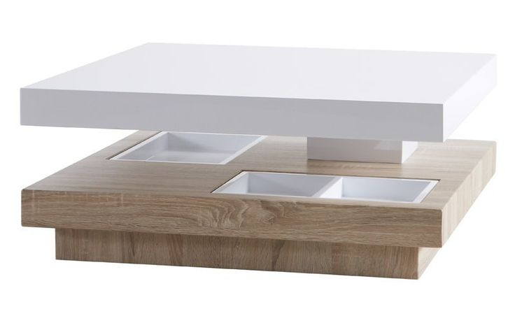 Turn+Sofabord+-+Moderne+sofabord+i+hvid+højglans+og+flot+træ-look+udført+i+2+niveauer,+som+er+forskudte+fra+hinanden.+I+den+nederste+bordplade+er+der+3+fordybninger+med+3+hvide+kasser+til+opbevaring+af+småting,+som+f.eks.+fjernbetjening,+kuglepen,+bordskånere+til+glas+m.m.+