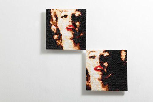 re. untitled-7,8 set, ea 43x43(cm), stickers, acrylic board, 2015. by Choi zan. #choizan #artist #artwork #marilynmonroe #stickers #contemporaryart #art #arte #koreanartist #asianartist