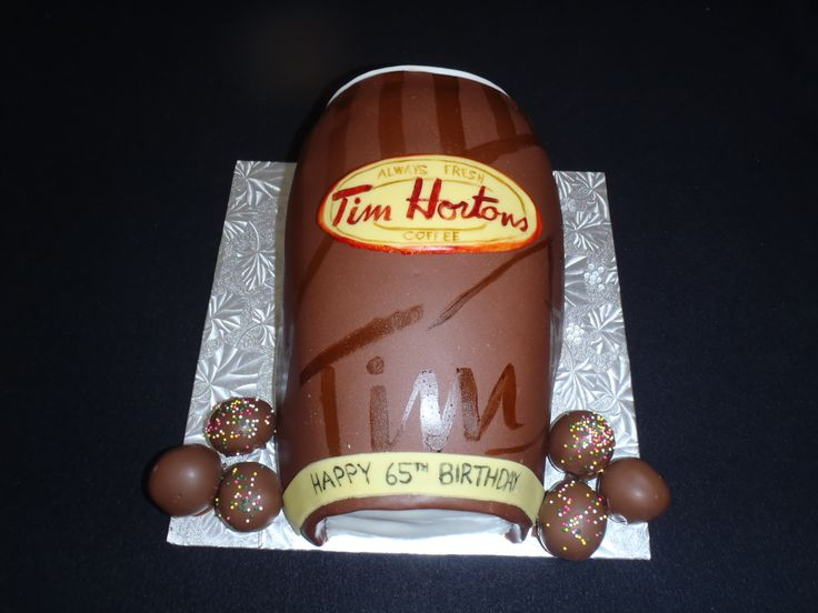 Tim Hortons cup - A cake for a chocolate addict! fondant, buttercream, mousse, and cake all chocolate:) First time hand painting a cake and i was happy how it turned out.