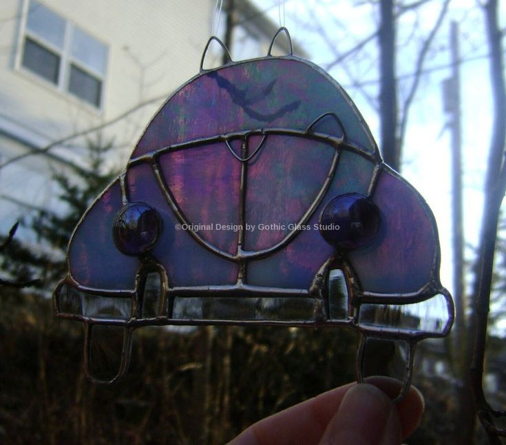Stained Glass Volkswagen Car Ornament Glass Classic Beetle Suncatcher Hippie Love Bug Vintage Retro Blue Father Birthday Route 66 Original