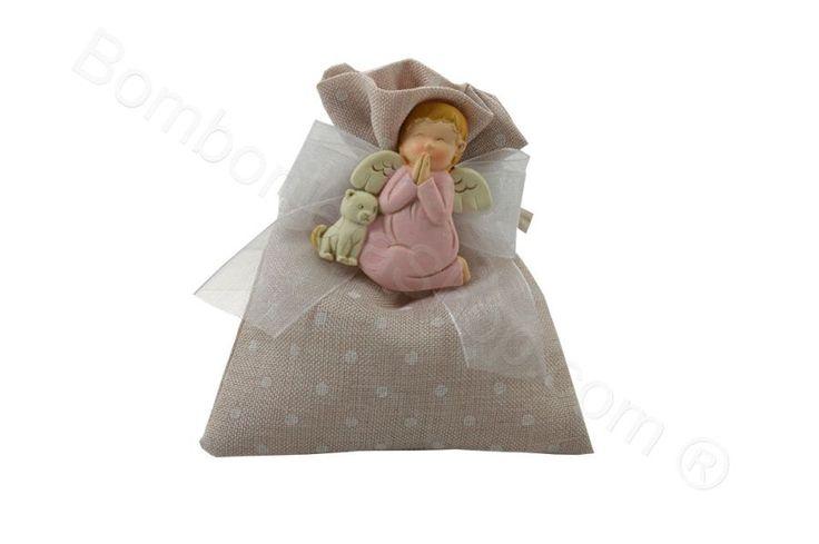 Sacchettino portaconfetti con angelo rosa   magnete con confetti inclusi (LS)