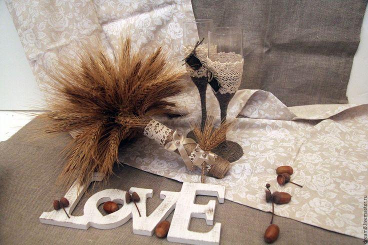 """Купить Букет для невесты """"Осень в твоих руках"""" - бежевый, колоски, колосья пшеницы, гипюрное кружево"""