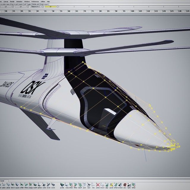 Modifying the nose of the #DSX Mistral concept helicopter. Using @autodesk alias…