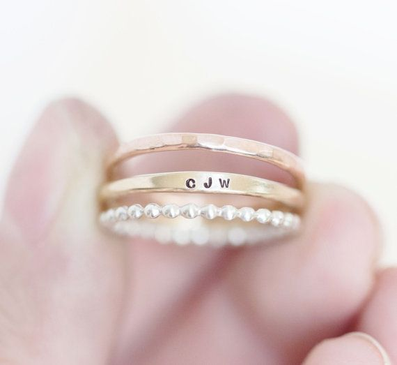 These personalized stacking rings are perfect for everyday wear. Made out of .925 sterling silver, 14k gold filled and 14 rose gold filled