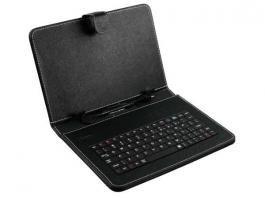 """Tastatura za 7"""" tablet PC sa futrolom crna Xwave Fenomenalni dodatak za tablete koji će istovremeno služiti i kao tastatura i kao futrola Eksterna tastatura namenjena 7"""" tabletima, koja koristi USB 2.0 interfejs.  Tablet se veoma lako priključuje sa tastaturom preko fiksiranog kablom, a potrebno je da podržava OTG USB funkciju, odnosno da se na njega mogu priključiti tastatura, miš ili drugi periferni uredjaji"""