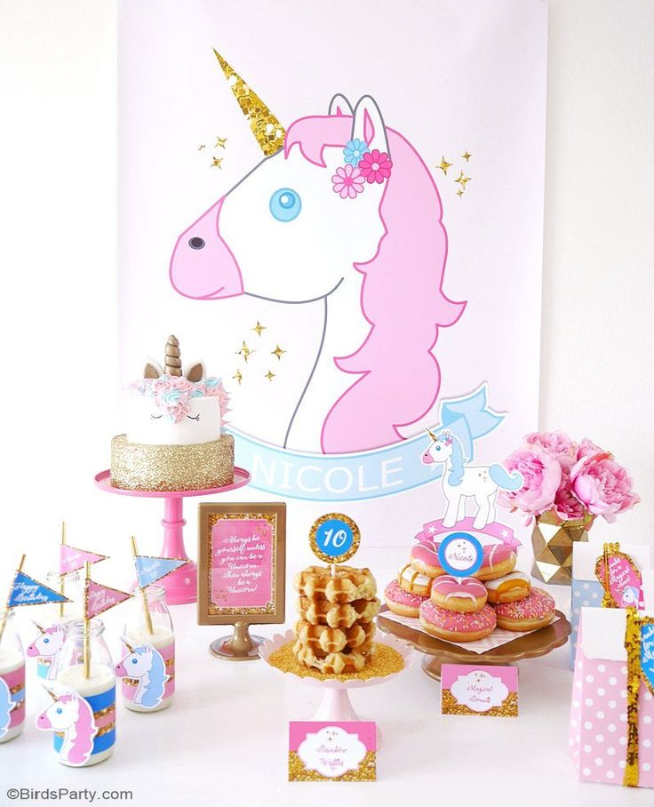 A Unicorn Birthday Slumber Party - with DIY decorations ideas, party printables, food, easy party favors and fun for a girl party or celebration!