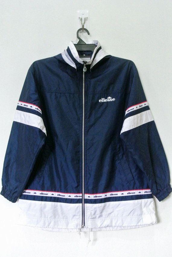 d6cd5bea2c Womens Vintage Ellesse Windbreaker Jacket Detachable Hooded Navy White Size  Medium BM