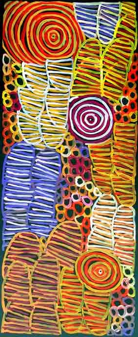 """Minnie Pwerle - """"Bush Melon, Melon Seeds and Body Paint"""", circa 1998 - Acrylic on Belgian Linen. Original masterwork, one of the most beautiful paintings Minnie Pwerle has done. Minnie paid particular attention to the details, the intricate shades of colour moves with the viewer's eyes. This top-quality, exquisite painting boasts the powerful, physical presence with multi dimensional appearance of the much contemporary work of art."""