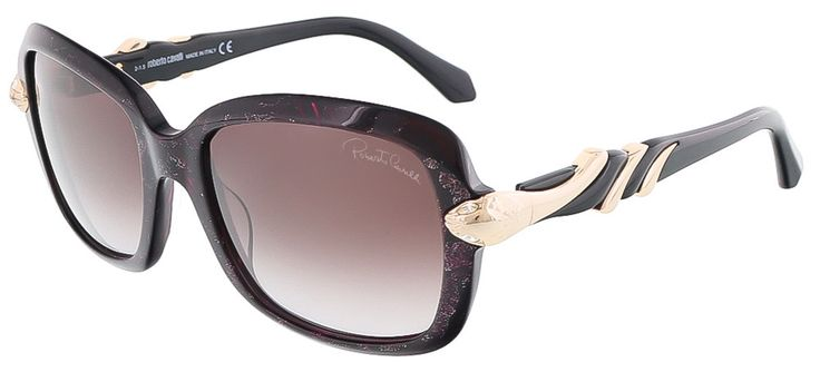 Roberto Cavalli RC879S/S 82Z LESATH Black/Violet Glitter Rectangle sunglasses