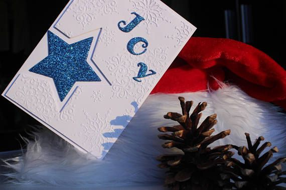 Handmade Christmas card Card with star Christmas JOY