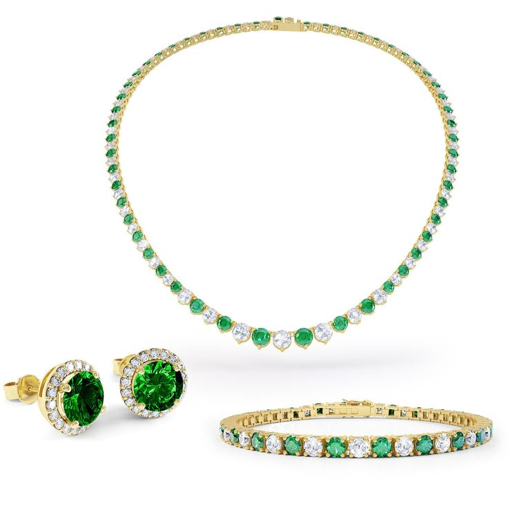 Eternity Emerald and White Sapphire 18ct Gold Vermeil Jewellery Set with Necklace