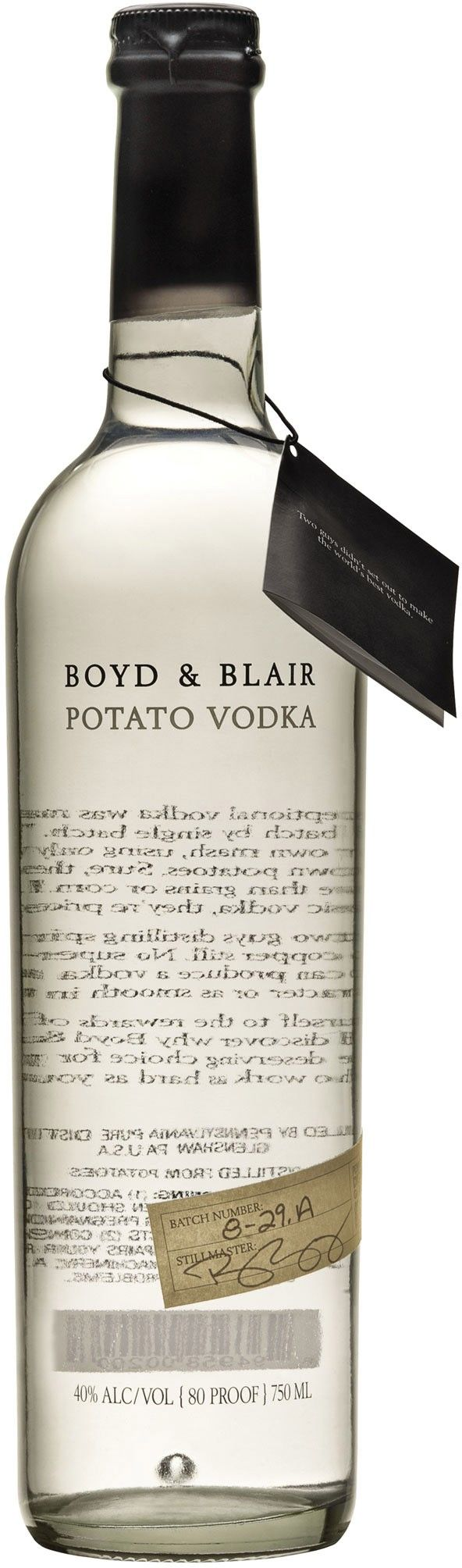 A classic small-batch vodka, Boyd & Blair was ranked the top vodka in the world by the Spirit Journal in 2011, 2012 and 2013.