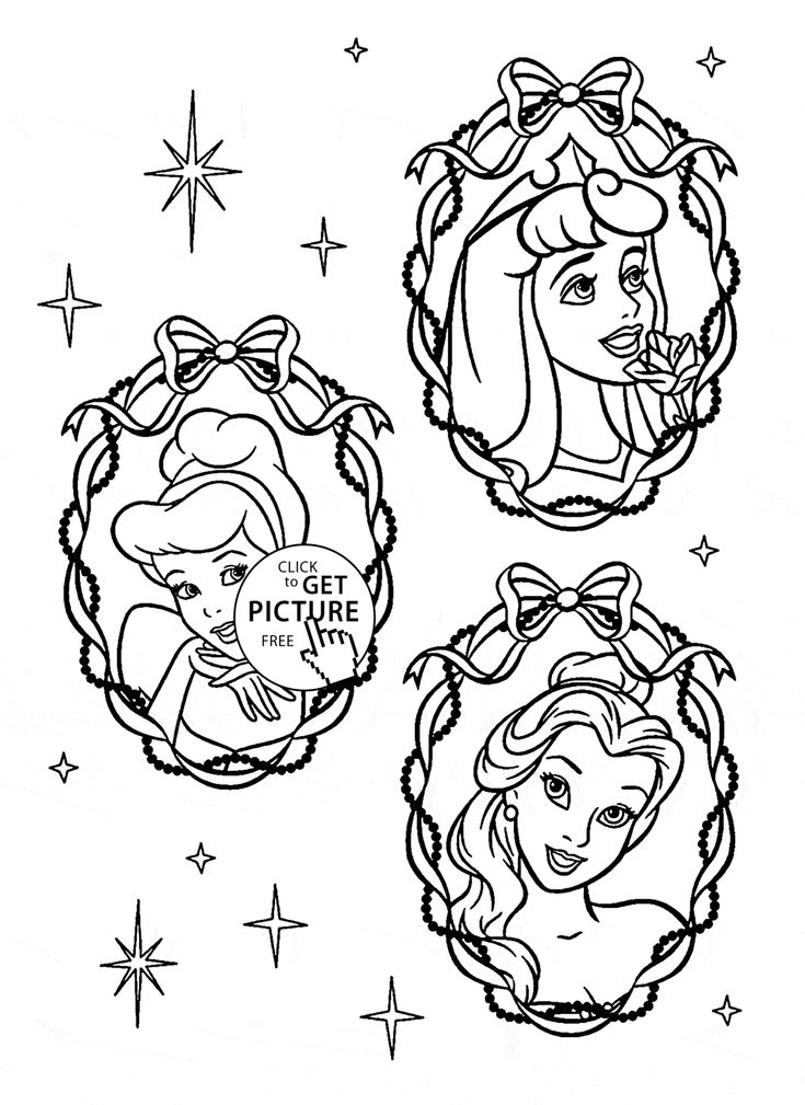 Three Disney Princesses Face Coloring Page For Kids Princess Pages Printables Free