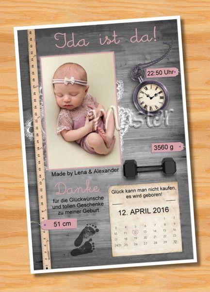 Baby- & Geburtskarten - Originelle Geburtskarten Danksagungskarten Geburt - ein Designerstück von Ausgefallene-Fotokarten bei DaWanda