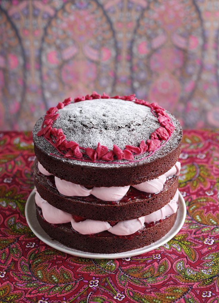 Chocolate gâteau with raspberry, rose and vanilla cream