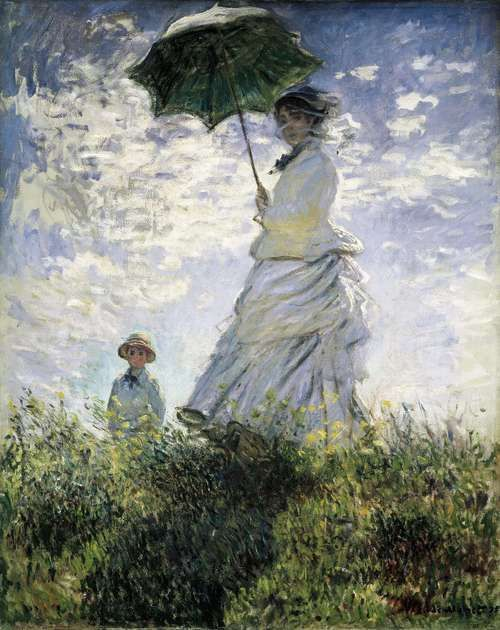 The Stroll, Camille Monet and Her Son Jean (Woman with a Parasol) by Claude Monet, 1875. (National Gallery of Art, Washington, DC, USA) Oil on canvas. 100 x 81 cm.