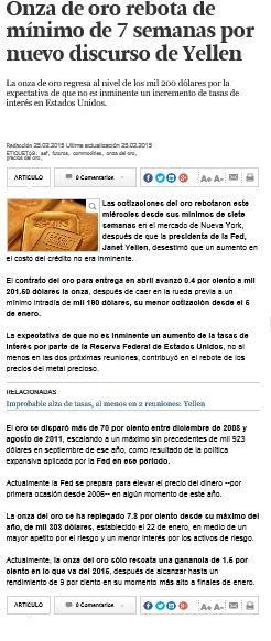 La onza de oro regresa al nivel de los mil 200 dólares por la expectativa de que no es inminente un incremento de tasas de interés en Estados Unidos. 25 feb 2015 http://www.elfinanciero.com.mx/mercados/onza-de-oro-rebota-de-minimo-de-semanas-por-nuevo-discurso-de-yellen.html