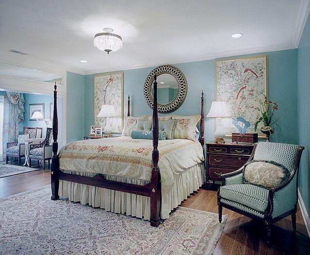 Дизайн спальни в голубых тонах