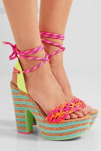 Cork and metallic turquoise heel measures approximately 130mm/ 5 inches with a 45mm/ 2 inches platform Lime-green, neon orange and pink leather Ties at ankle Imported