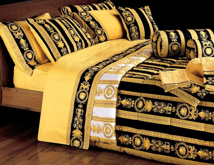 Dream Home Black Gold Versace Black Medusa Bedding Set Dream