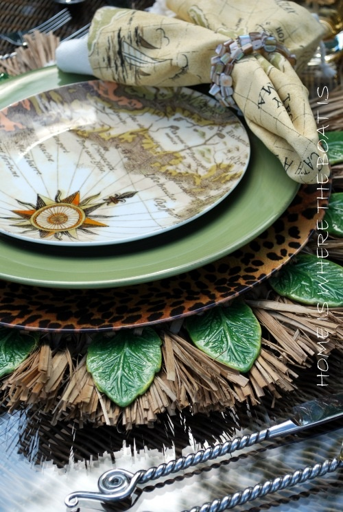 Tommy Bahama table setting, love the layers and depth of this