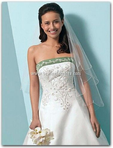 Alfred Angelo Wedding Dresses -DESCRIPTION Alfred Angelo Wedding Dresses: Satin and Net. Embroidery, Crystal & Pearl Beading, Sequins. Strapless Princess Line Gown with Lace-Up Bodice Back and Semi-Cathedral Train. Optional Satin Halter Strap. Optional Modesty Piece can be reversed. Alfred Angelo Wedding Dresses - Style 1612