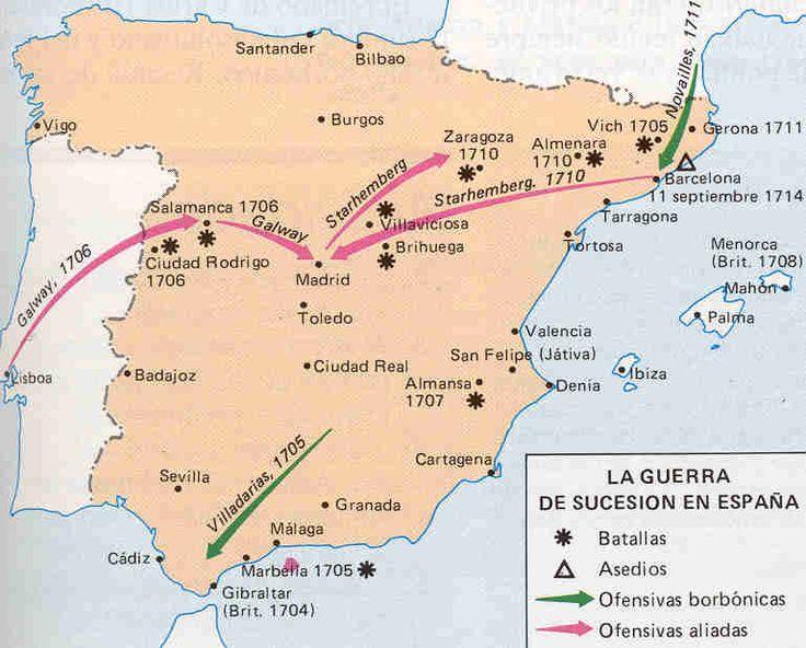 MAPA DE LA GUERRA DE SUCESIÓN ESPAÑOLA.