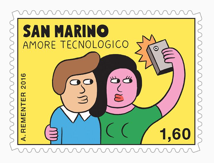 Andy Rementer releases online dating-themed stamp collection for San Marino.