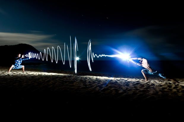 Regis Matthey photographs his friend Johannes using a long exposure on Abel Tasman Beach, New Zealand. Although it looks like there are two people engaged in a light duel, Johannes assumed one position and then quickly moved to another eight feet away, armed with a strobe light and a torch.