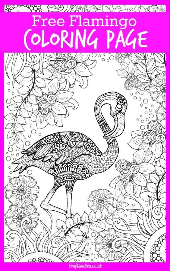 Free Flamingo Coloring Page for Adults - Crafts on Sea