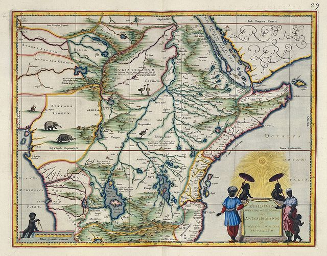 """I like the myth of Prester John (see Eco's Baudolino for instance). Sub-Saharan Africa/East Africa by Dutch Cartographer Joan Bleu, from a 16th century atlas. """"This map is based on Ortelius' map of Prester John of 1573. The map contains numerous rivers, villages and settlements throughout, and is highly embellished with elephants, ostriches and other animals within the map""""."""