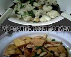 FOOD IMAGES FROM twitter.com/BroadenYourView: Vegan Meal - recipe in BYV 2017/11 - Roasted Pumpkin Mustard Peanut Parsley with Boiled Cauliflower Roasted Hazelnut Fried Tofu Garlic Parsley