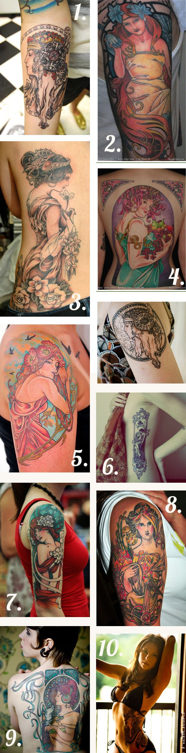 art nouveau tattoos! Some of the shading on these is a little to contrasting for my liking but love the style