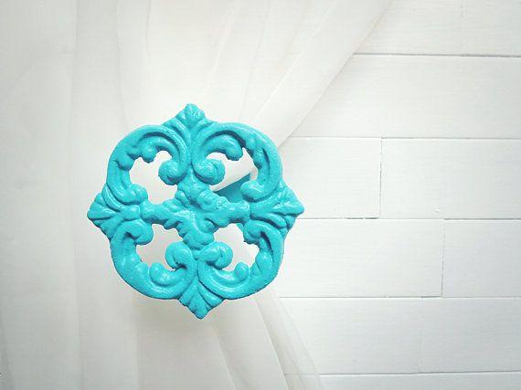 Two Metal Curtain Tie Backs / Curtain Tiebacks / Curtain Holdback / Drapery Tie Back / Shabby Chic / Turquoise Home Decor / Tiffany Blue on Wanelo